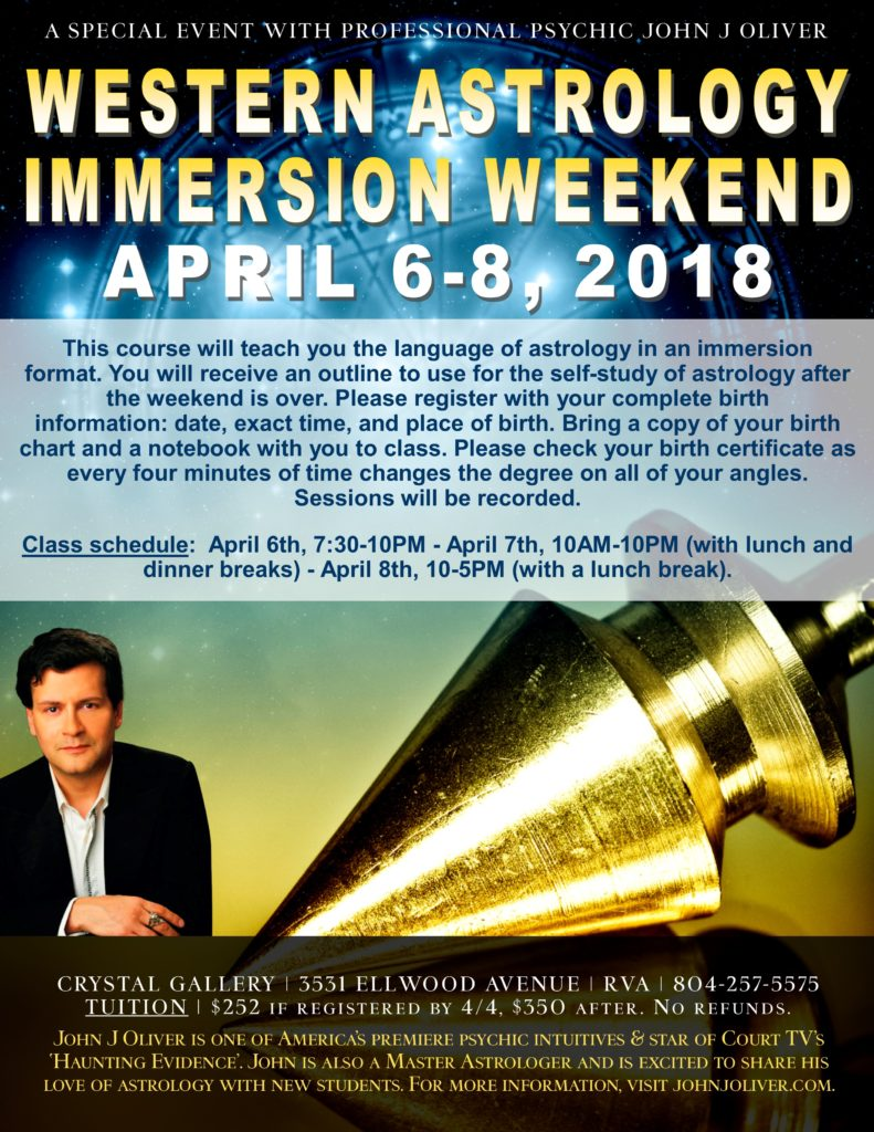 Astrology Immersion with John J Oliver | Richmond, VA @ Aquarian Crystal Gallery | Richmond | Virginia | United States