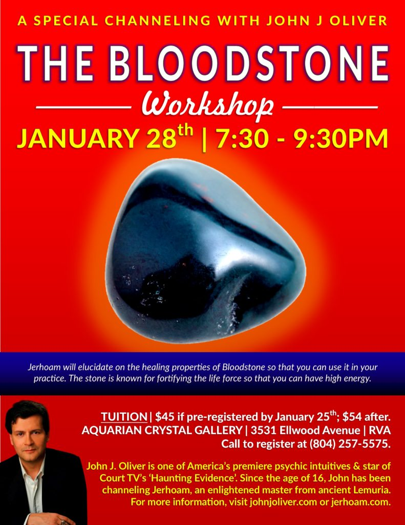 The Bloodstone Crystal Workshop with Jerhoam | Richmond, VA @ Aquarian Crystal Gallery | Richmond | Virginia | United States