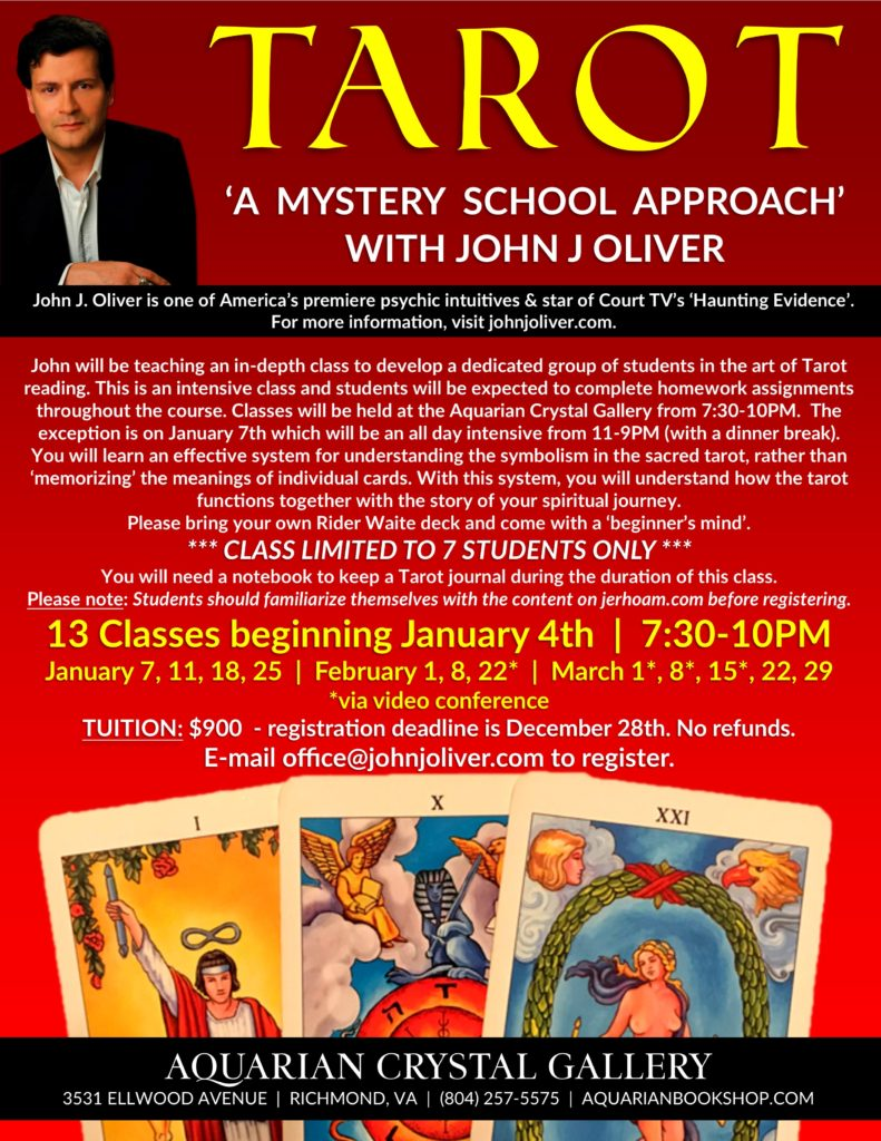 How to Read the Tarot - A Mystery School Approach with John J Oliver @ Aquarian Crystal Gallery | Richmond | Virginia | United States