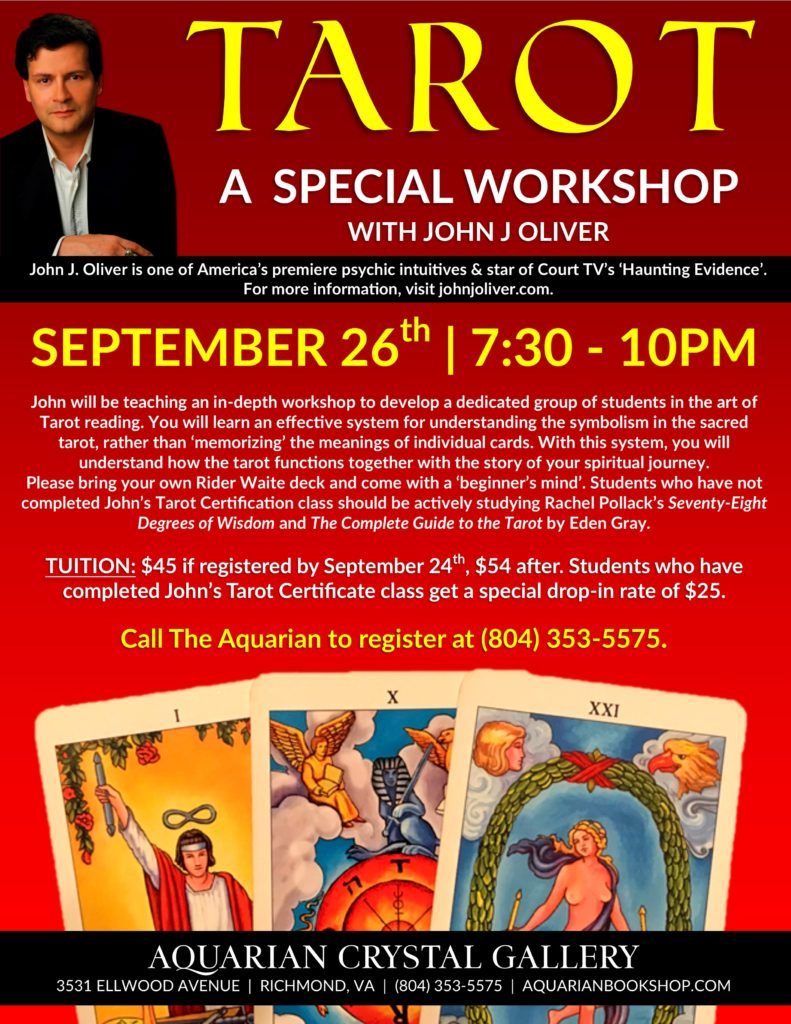 A Special Tarot Workshop with John J Oliver @ Aquarian Crystal Gallery | Richmond | Virginia | United States