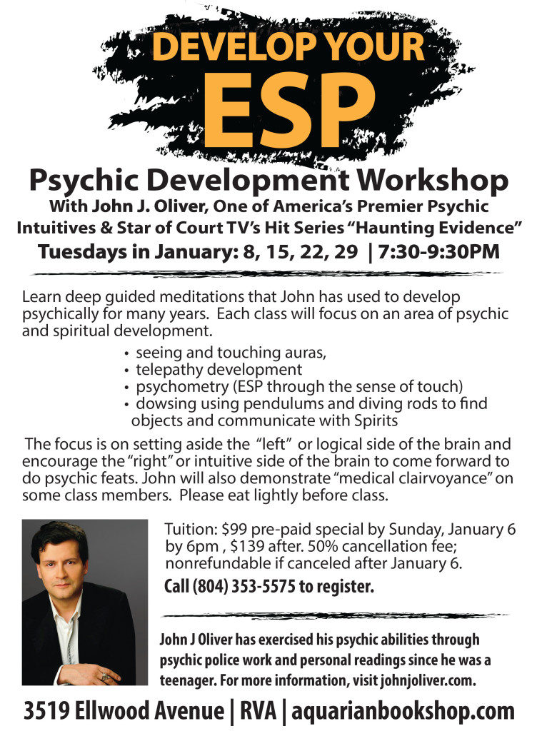 Develop your ESP - A Psychic Development Workshop with John J Oliver @ Aquarian Bookshop | Richmond | Virginia | United States