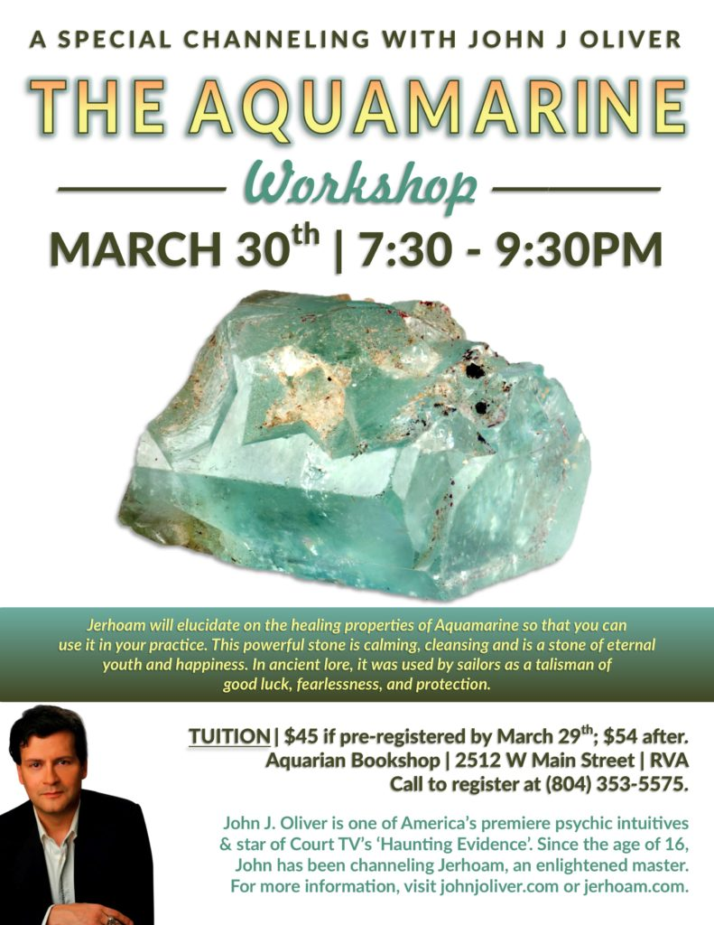 Special Channeling Event with John J Oliver:  The Aquamarine Workshop @ The Aquarian Bookshop