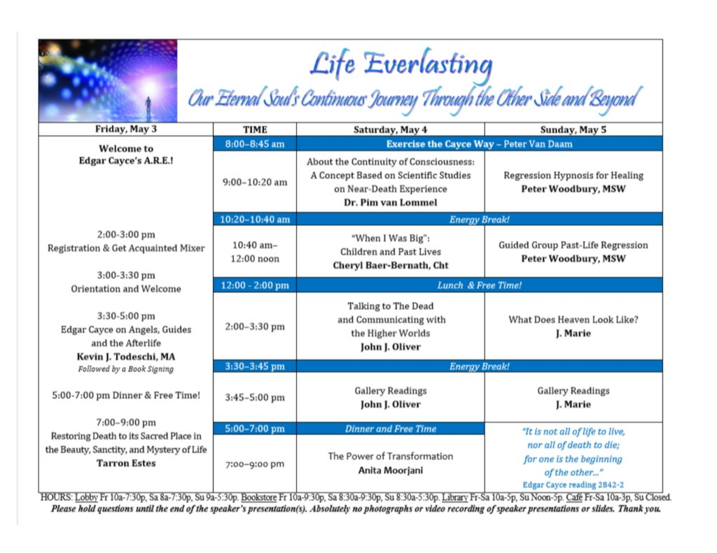 A.R.E. Annual Reincarnation and Soul Life Conference @ Edgar Cayce Association for Research & Enlightenment
