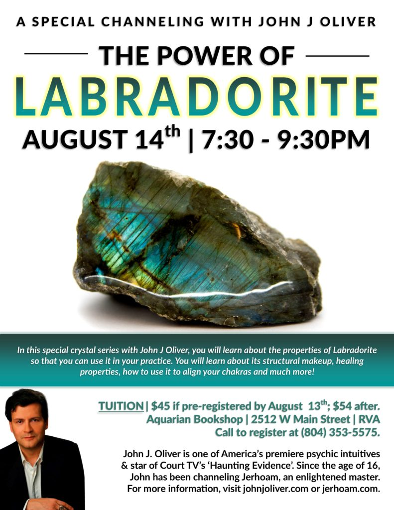 A Special Channeling Event with John J Oliver:  The Power of Labradorite @ Aquarian Bookshop